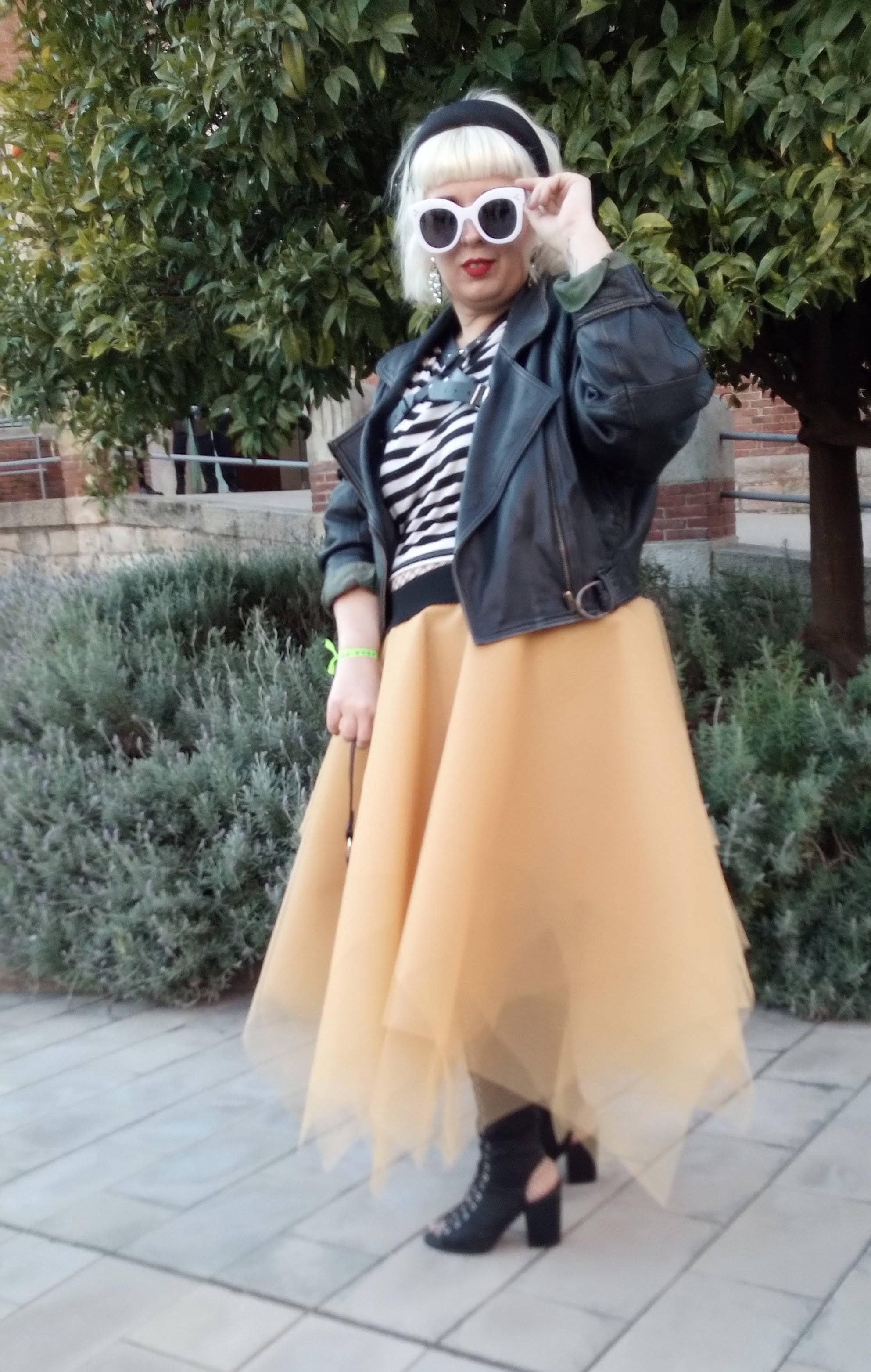 Falda de Tul y Chaqueta de Piel